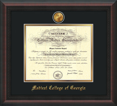 Image of Medical College of Georgia Diploma Frame - Mahogany Braid - w/24k Gold-Plated Medallion - Black on Gold mat