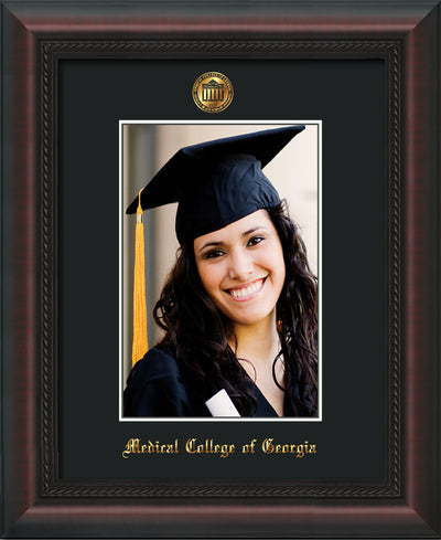 Image of Medical College of Georgia 5 x 7 Photo Frame - Mahogany Braid - w/Official Embossing of MCG Seal & Name - Single Black mat