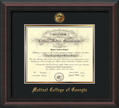 Image of Medical College of Georgia Diploma Frame - Mahogany Braid - w/Embossed MCG Seal & Name - Black on Gold mat