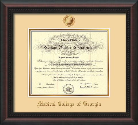 Image of Medical College of Georgia Diploma Frame - Mahogany Braid - w/Embossed MCG Seal & Name - Cream on Gold mat
