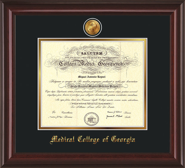 Image of Medical College of Georgia Diploma Frame - Mahogany Lacquer - w/24k Gold-Plated Medallion - Black on Gold mat