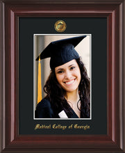 Image of Medical College of Georgia 5 x 7 Photo Frame - Mahogany Lacquer - w/Official Embossing of MCG Seal & Name - Single Black mat