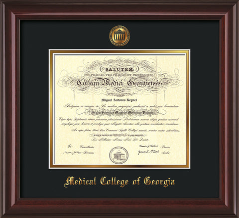 Image of Medical College of Georgia Diploma Frame - Mahogany Lacquer - w/Embossed MCG Seal & Name - Black on Gold mat