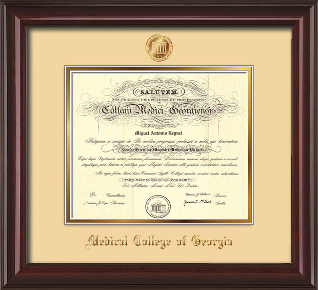 Image of Medical College of Georgia Diploma Frame - Mahogany Lacquer - w/Embossed MCG Seal & Name - Cream on Gold mat