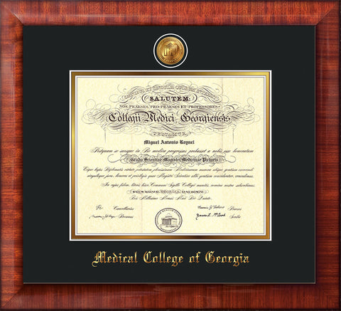 Image of Medical College of Georgia Diploma Frame - Mezzo Gloss - w/24k Gold-Plated Medallion - Black on Gold mat