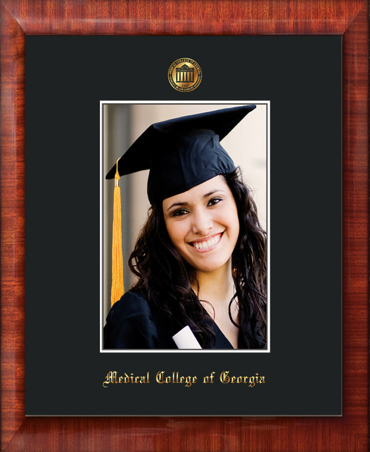 Image of Medical College of Georgia 5 x 7 Photo Frame - Mezzo Gloss - w/Official Embossing of MCG Seal & Name - Single Black mat