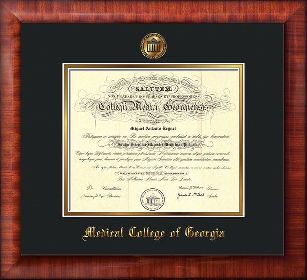 Medical College of Georgia Diploma Frame - Mezzo Gloss - w/Embossed MCG Seal & Name - Black on Gold mat