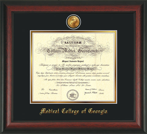 Image of Medical College of Georgia Diploma Frame - Rosewood - w/24k Gold-Plated Medallion - Black on Gold mat