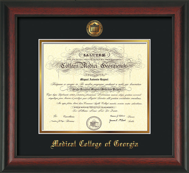 Image of Medical College of Georgia Diploma Frame - Rosewood - w/Embossed MCG Seal & Name - Black on Gold mat