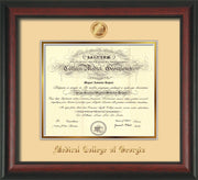 Image of Medical College of Georgia Diploma Frame - Rosewood - w/Embossed MCG Seal & Name - Cream on Gold mat