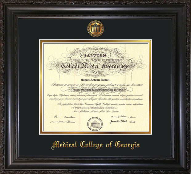 Image of Medical College of Georgia Diploma Frame - Vintage Black Scoop - w/Embossed MCG Seal & Name - Black on Gold mat