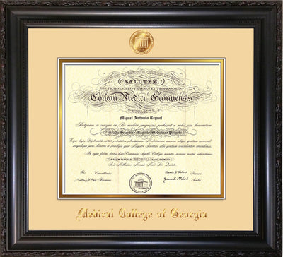 Image of Medical College of Georgia Diploma Frame - Vintage Black Scoop - w/Embossed MCG Seal & Name - Cream on Gold mat