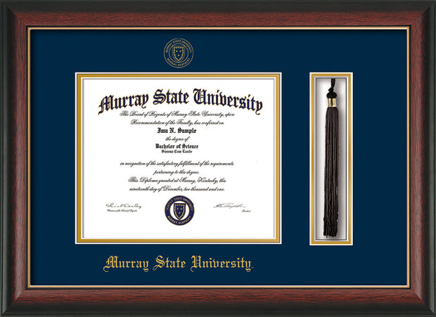 Image of Murray State University Diploma Frame - Rosewood w/Gold Lip - w/Murray Embossed Seal & Name - Tassel Holder - Navy on Gold mat