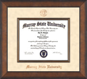 Image of Murray State University Diploma Frame - Metro Antique Bronze - w/ Fillet - w/Copper Embossed Murray Seal & School Name - Off White Suede