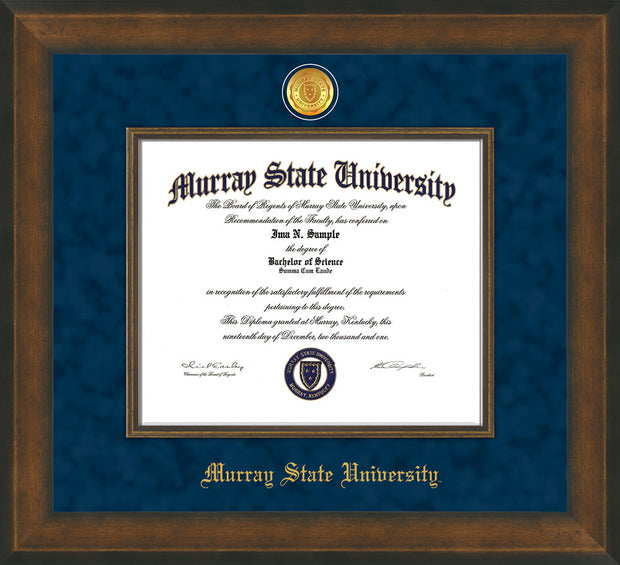 Image of Murray State University Diploma Frame - Metro Antique Gold Double - w/24k Gold Plated Medallion & Metro Gold Fillet - w/Murray Embossing - Navy Suede