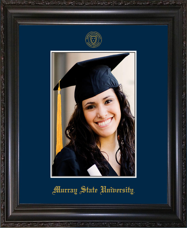 Image of Murray State University 5 x 7 Photo Frame - Vintage Black Scoop - w/Official Embossing of Murray Seal & Name - Single Navy mat