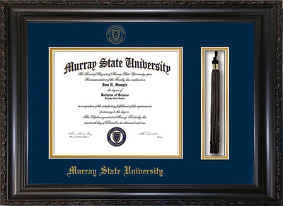 Image of Murray State University Diploma Frame - Vintage Black Scoop - w/Murray Embossed Seal & Name - Tassel Holder - Navy on Gold mat