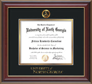 Image of University of North Georgia Diploma Frame - Cherry Lacquer - w/Embossed Military Seal & UNG Wordmark - Black on Gold mat