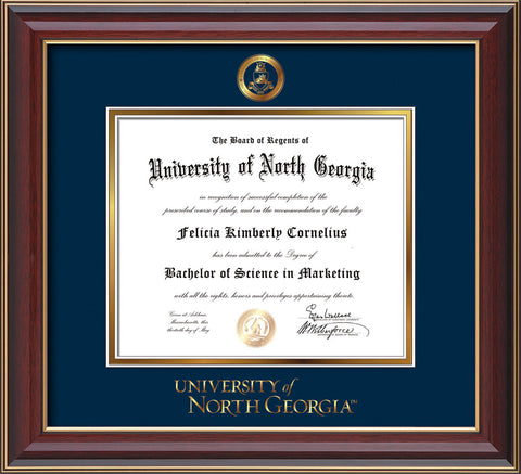 Image of University of North Georgia Diploma Frame - Cherry Lacquer - w/Embossed Military Seal & UNG Wordmark - Navy on Gold mat