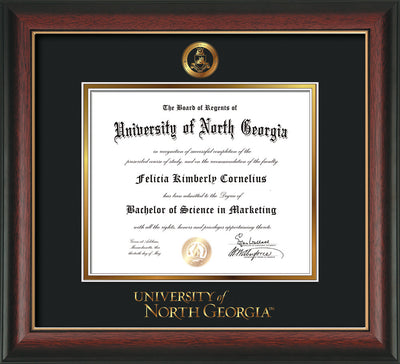 Image of University of North Georgia Diploma Frame - Rosewood w/Gold Lip - w/Embossed Military Seal & UNG Wordmark - Black on Gold mat