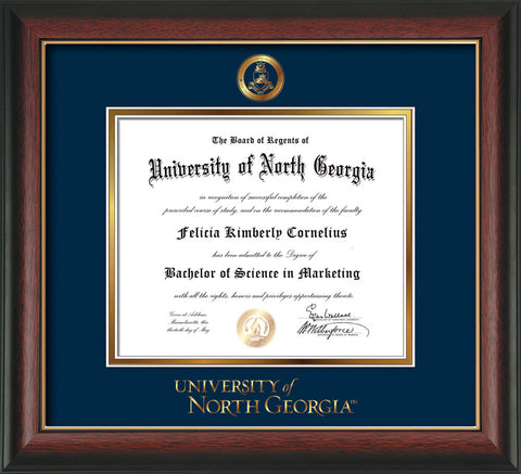 Image of University of North Georgia Diploma Frame - Rosewood w/Gold Lip - w/Embossed Military Seal & UNG Wordmark - Navy on Gold mat