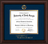 Image of University of North Georgia Diploma Frame - Mahogany Bead - w/Embossed Military Seal & UNG Wordmark - Navy on Gold mat
