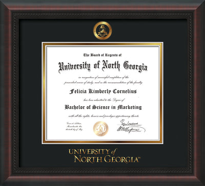Image of University of North Georgia Diploma Frame - Mahogany Braid - w/Embossed Military Seal & UNG Wordmark - Black on Gold mat