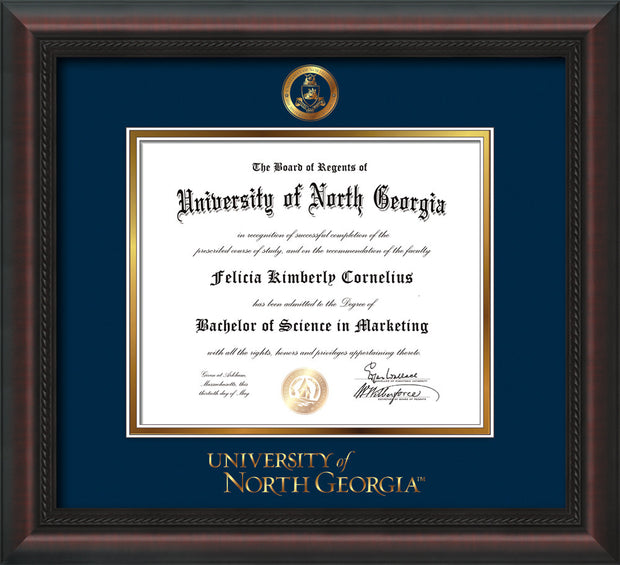 Image of University of North Georgia Diploma Frame - Mahogany Braid - w/Embossed Military Seal & UNG Wordmark - Navy on Gold mat