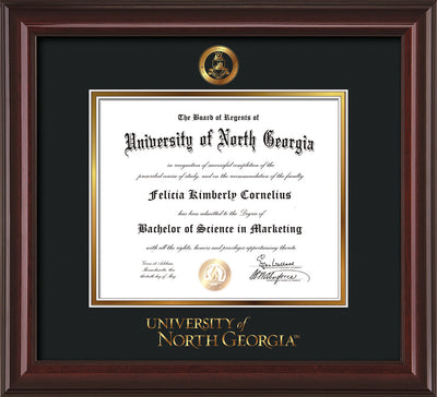 Image of University of North Georgia Diploma Frame - Mahogany Lacquer - w/Embossed Military Seal & UNG Wordmark - Black on Gold mat