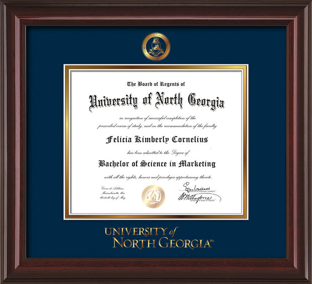 Image of University of North Georgia Diploma Frame - Mahogany Lacquer - w/Embossed Military Seal & UNG Wordmark - Navy on Gold mat