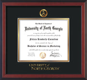 Image of University of North Georgia Diploma Frame - Cherry Reverse - w/Embossed Military Seal & UNG Wordmark - Black on Gold mat