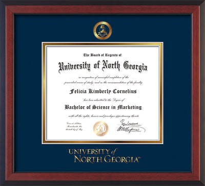 Image of University of North Georgia Diploma Frame - Cherry Reverse - w/Embossed Military Seal & UNG Wordmark - Navy on Gold mat