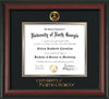 Image of University of North Georgia Diploma Frame - Rosewood - w/Embossed Military Seal & UNG Wordmark - Black on Gold mat