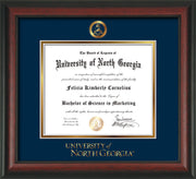 Image of University of North Georgia Diploma Frame - Rosewood - w/Embossed Military Seal & UNG Wordmark - Navy on Gold mat