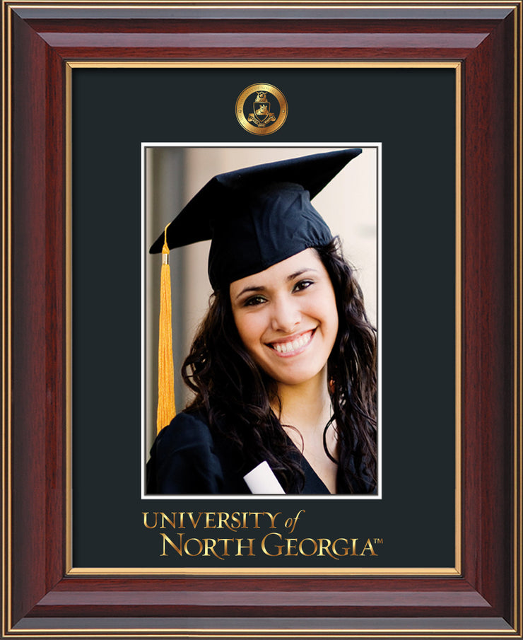 Image of University of North Georgia 5 x 7 Photo Frame - Cherry Lacquer - w/Official Embossing of Military Seal & UNG Wordmark - Single Black mat