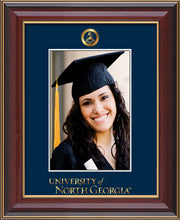 Image of University of North Georgia 5 x 7 Photo Frame - Cherry Lacquer - w/Official Embossing of Military Seal & UNG Wordmark - Single Navy mat