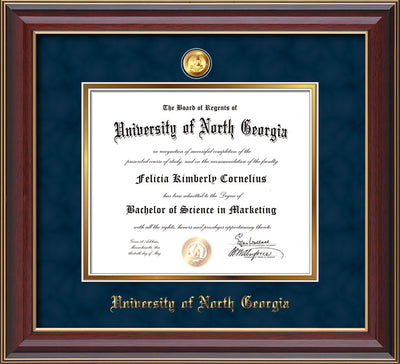 Image of University of North Georgia Diploma Frame - Cherry Lacquer - w/24k Gold-Plated Military Medallion & UNG Name Embossing - Navy Suede on Gold mats
