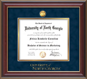 Image of University of North Georgia Diploma Frame - Cherry Lacquer - w/24k Gold-Plated Military Medallion & UNG Wordmark Embossing - Navy Suede on Gold mats
