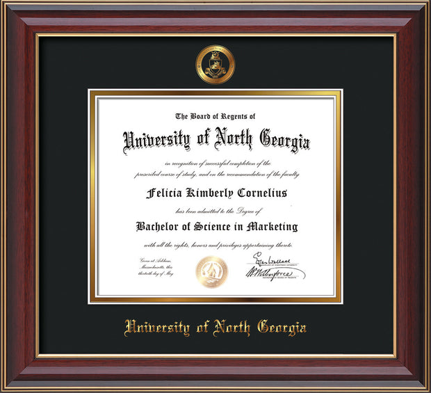 Image of University of North Georgia Diploma Frame - Cherry Lacquer - w/Embossed Military Seal & UNG Name - Black on Gold mat