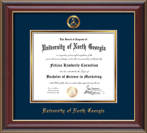 Image of University of North Georgia Diploma Frame - Cherry Lacquer - w/Embossed Military Seal & UNG Name - Navy on Gold mat