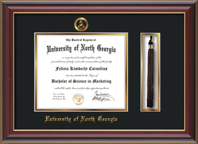 Image of University of North Georgia Diploma Frame - Cherry Lacquer - w/Embossed Military Seal & UNG Name - Tassel Holder - Black on Gold mat