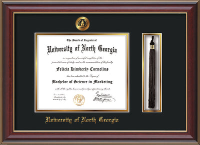Image of University of North Georgia Diploma Frame - Cherry Lacquer - w/Embossed UNG Seal & Name - Tassel Holder - Black on Gold mat