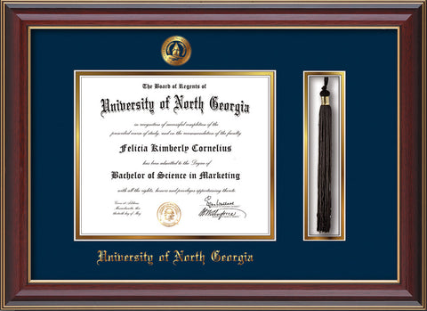 Image of University of North Georgia Diploma Frame - Cherry Lacquer - w/Embossed UNG Seal & Name - Tassel Holder - Navy on Gold mat