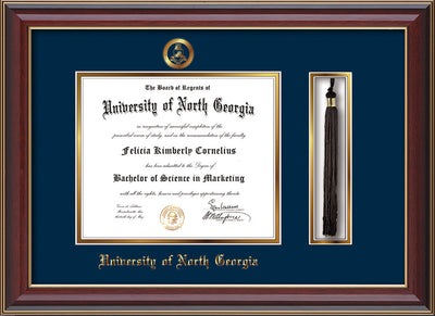 Image of University of North Georgia Diploma Frame - Cherry Lacquer - w/Embossed Military Seal & UNG Name - Tassel Holder - Navy on Gold mat