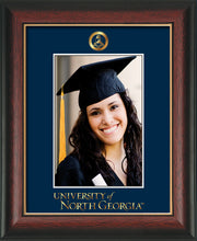 Image of University of North Georgia 5 x 7 Photo Frame - Rosewood w/Gold Lip - w/Official Embossing of Military Seal & UNG Wordmark - Single Navy mat