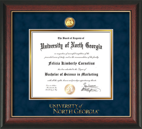 Image of University of North Georgia Diploma Frame - Rosewood w/Gold Lip - w/24k Gold-Plated Military Medallion & UNG Wordmark Embossing - Navy Suede on Gold mats