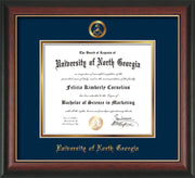 Image of University of North Georgia Diploma Frame - Rosewood w/Gold Lip - w/Embossed Military Seal & UNG Name - Navy on Gold mat