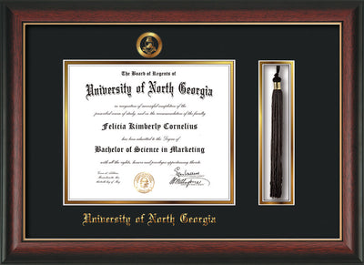 Image of University of North Georgia Diploma Frame - Rosewood w/Gold Lip - w/Embossed Military Seal & UNG Name - Tassel Holder - Black on Gold mat