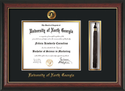 Image of University of North Georgia Diploma Frame - Rosewood w/Gold Lip - w/Embossed UNG Seal & Name - Tassel Holder - Black on Gold mat