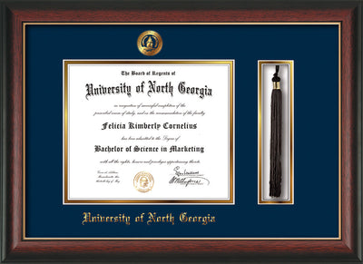 Image of University of North Georgia Diploma Frame - Rosewood w/Gold Lip - w/Embossed UNG Seal & Name - Tassel Holder - Navy on Gold mat